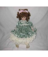 "So Cute 17"" Porcelain Bisque Doll Pretty Green Eyes - $16.39"