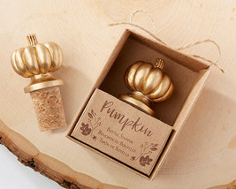 Gold Fall Autumn Pumpkin Cork Bottle Stopper Anniversary Bridal Wedding ... - $71.20+