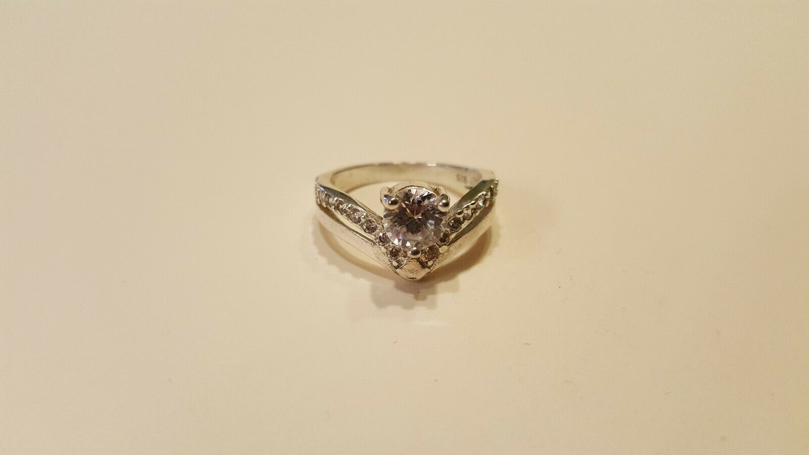 Primary image for Antique Vintage Sterling Silver 925 Ring Size 6.5 / Cubic Zirconia