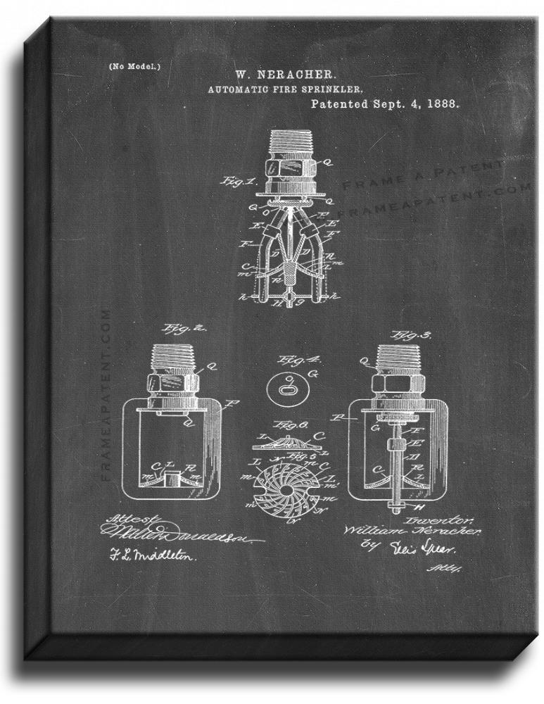Primary image for Automatic Fire Sprinkler Patent Print Chalkboard on Canvas