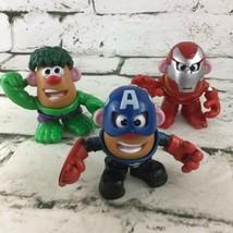 Mr Potato Head Mini Marvel Avengers Mixable Mashable Heroes Lot Of 3 Hasbro - $29.69