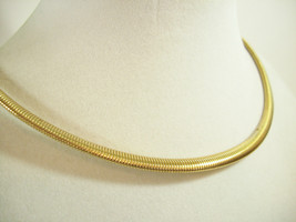 Coro Pegasus Gold Plate Omega Chain Choker Necklace Snake Stove Pipe Dainty Vntg image 2