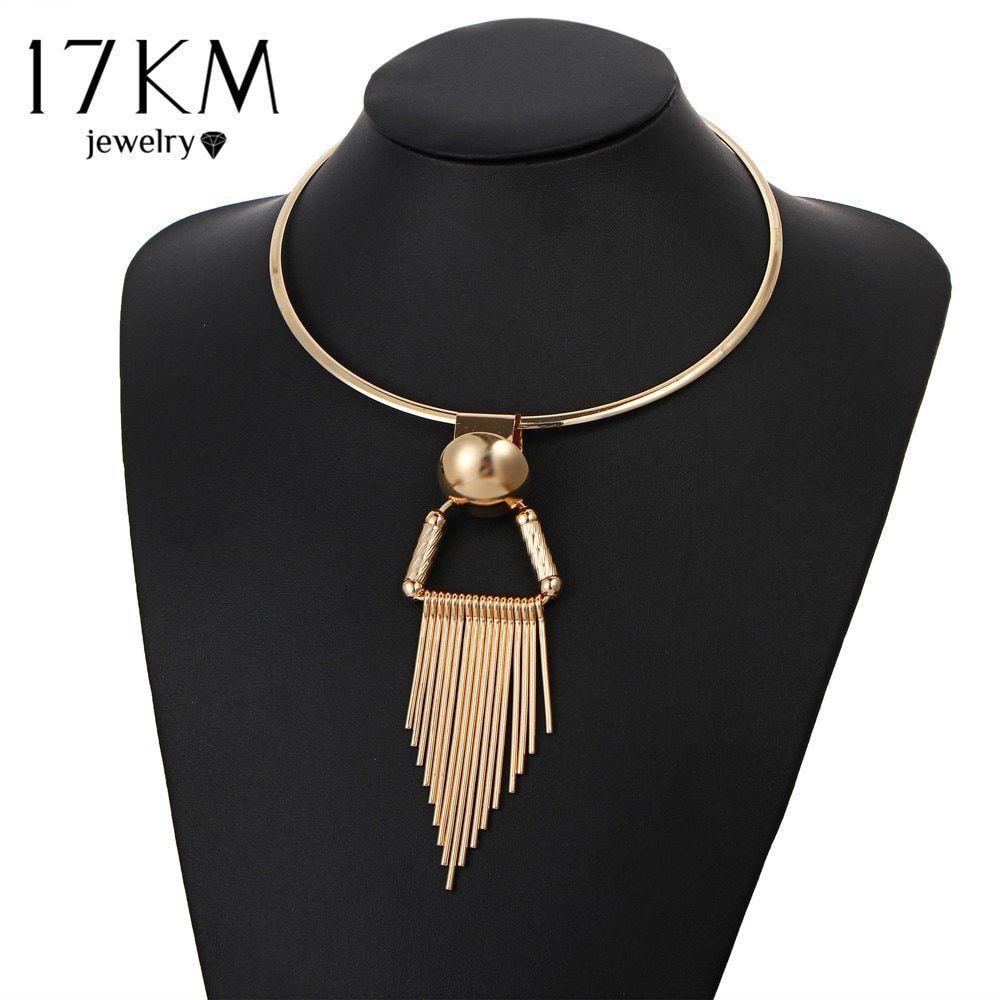 17KM® Vintage Gold Color Tassel Choker Necklace Women Statement Pendant Party