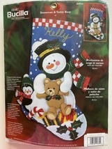 "Bucilla Christmas ""Snowman & Teddy Bear"" Felt Stocking Kit #84954 New Sealed - $75.19"