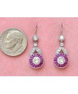 ART DECO 1.12ctw DIAMOND .9ctw RUBY HALO PLATINUM SHORT DANGLE COCKTAIL ... - $4,226.31