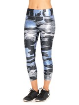 Terez Women Photo-Real Print Tall Band Capri Performance Leggings, Blueish Camo