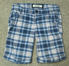 Abercrombie Blue Plaid Stretch Shorts Size 8 - $13.99