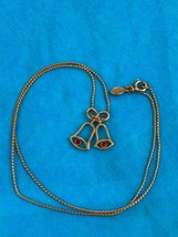 Avon Gold Tone Bells With Red Rhinestone Clappers Vintage Necklace Colle... - $8.60