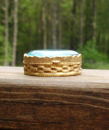 Vintage Pill Box, Snuff, Patch, Basketweave Design, Blue Faceted Glass G... - $375.00