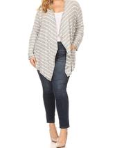 Plus Size Striped Cardigan, Plus Size Cardigans, Gray Striped Cardigan, Womens image 2