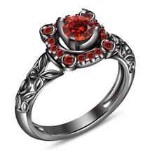 Round Cut Red Garnet Black Gold Finish Pure 925 Silver Engagement Weddin... - $79.99