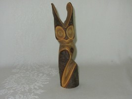 Native Art Canada Carved Sumac Wood Owl Figurine Vintage Carving - $59.39