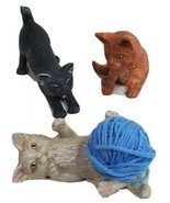 Cats Kittens Set of 3 Playing with Yarn Ceramic Hand painted 2009 - $58.79