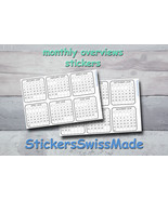 bullet journal stickers - black+white monthly overview - monday or sunda... - $3.00+