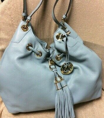MICHAEL KORS CAMDEN LARGE LEATHER DRAWSTRING POWDER BLUE GOLD TOTE BAG NWT
