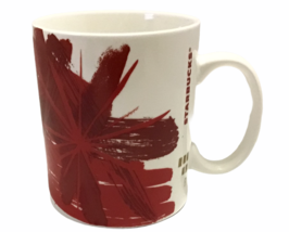 Starbucks Coffee Mug Abstract Red Flower Starburst 2014 15.2 Oz Micro DW... - $42.46