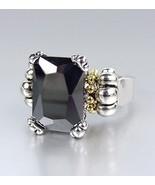 Designer Style Emerald-cut Black Onyx CZ Crystal GLACIER Caviar Ring - $24.99