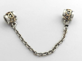 Authentic Pandora Two Tone Heart Safety Chain, 790307-05, New - $95.94