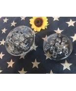 """2 Vtg Flower Clear Glass Frogs Floral Arrangements Domed 4"""" 13 Holes 3.2... - $6.92"""