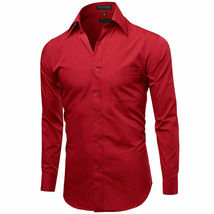 Omega Italy Men's Long Sleeve Solid Barrel Cuff Red Button Up Dress Shirt -  L image 4