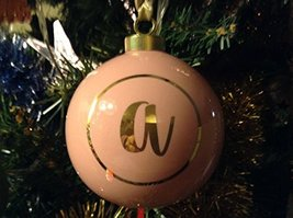 Letter A in Gold on Pink Ceramic Monogram Ornament