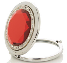 Red Jeweled Magnifying Makeup Mirror Compact Stainless Steel Signature C... - $5.93