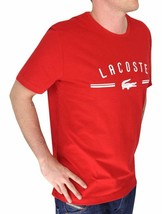 BRAND NEW LACOSTE LOGO MEN'S PREMIUM COTTON CREW NECK SHIRT T-SHIRT TEE RED image 2