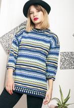Knit jumper - 90s vintage noisy patterned sweater - $39.91