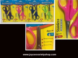 Bazic Scissors Jr. Various Colors 2 in Pack 6+ Yrs Pointed Tip 4+ Yrs Bl... - $6.99