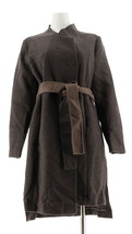 H Halston Wrap Front Double Face Coat Oyster 10 NEW A280169 - $122.74