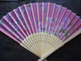 Floral Pinkish Silk Handheld hand Fan Folding Fans Asian Hand Fan - $9.99