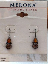 VINTAGE STERLING SILVER AMBER CITRINE? MERONA EARRINGS - $22.75