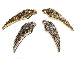 Double Sided Wing Fine Pewter Charm Pendant 7mm L x 26mm W x 1.5mm D
