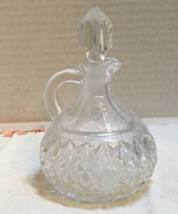 Vintage Small Pressed Glass Cruet with Stopper Diamond Pattern Etched Glass - $12.00