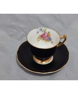 Gladstone England Black Cup and Saucer Set Roses - $23.76