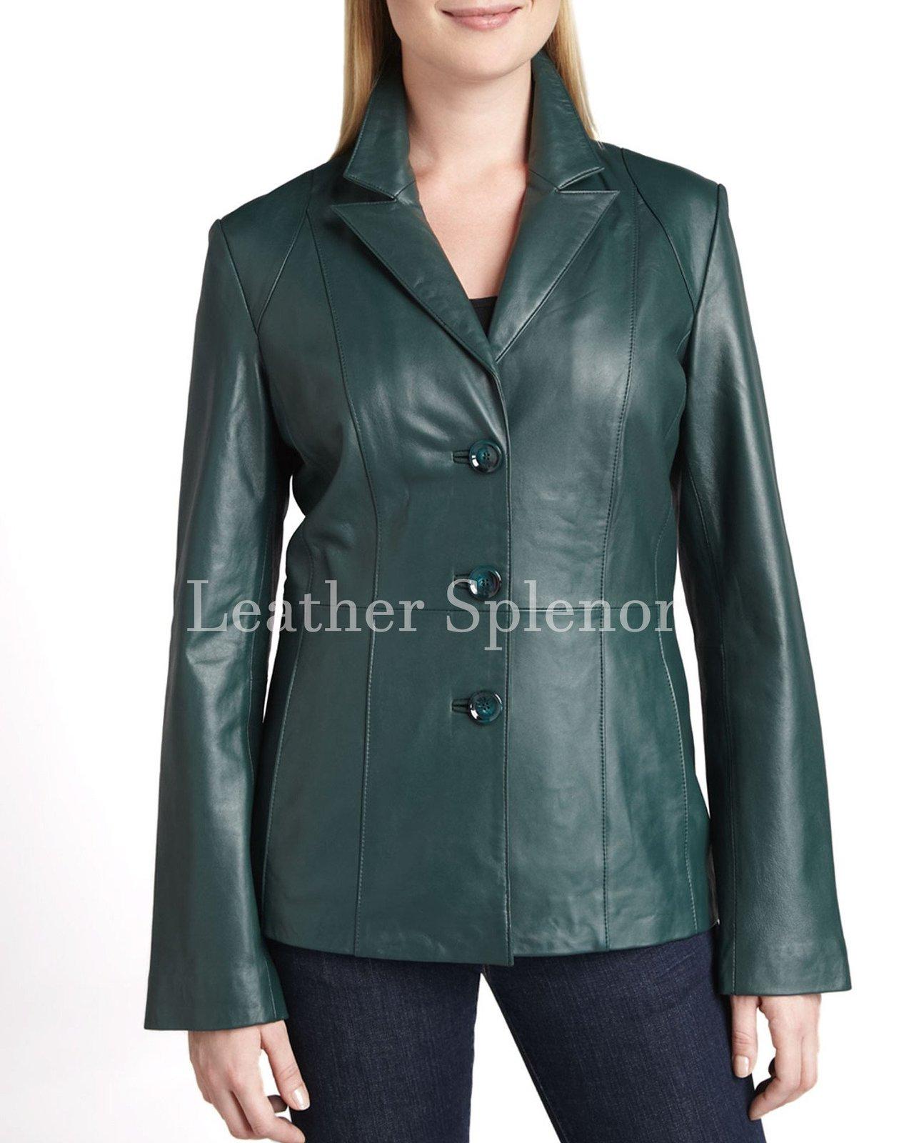 Three Button Women Leather Blazer