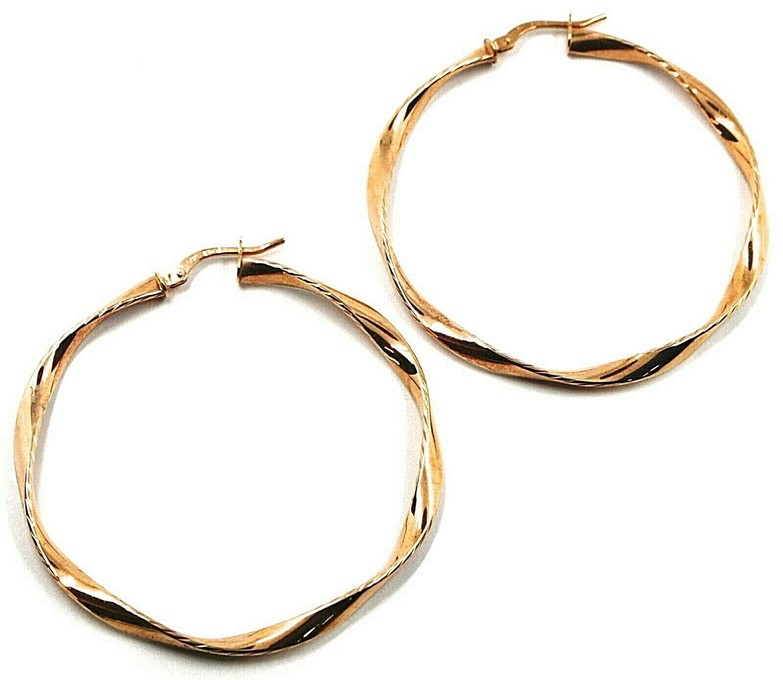 18K ROSE GOLD CIRCLE HOOPS PENDANT EARRINGS, 4.7 cm x 3.5 mm WORKED & TWISTED