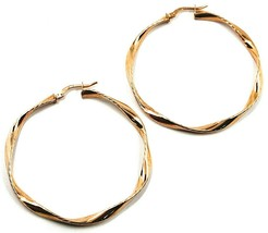 18K ROSE GOLD CIRCLE HOOPS PENDANT EARRINGS, 4.7 cm x 3.5 mm WORKED & TWISTED image 1