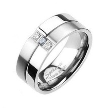 8mm Titanium with CZ Wedding Engagement Bridal Band 2 Tone Polish & Brus... - $16.24