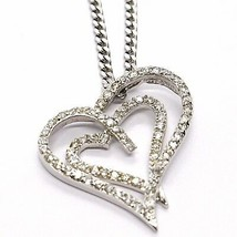 Silver 925 Necklace Chain, Grumette, Pendant Charm Double Heart Cubic Zi... - $80.99