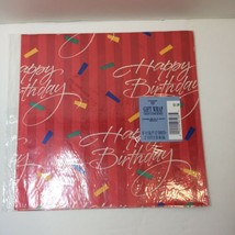 Happy Birthday Vintage Hallmark Ambassador Wrapping Paper 2 Sheets Red - $9.74