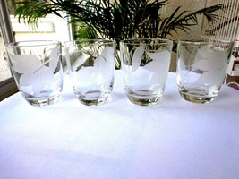 Set of 4 Frosted Leaf Clear Whiskey Glass c1940's - $37.61