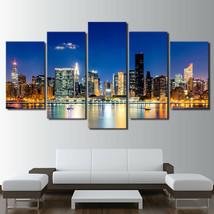 New York City Skyline At Morning Twilight 5 Pcs Canvas Print Wall Art Ho... - $23.00+