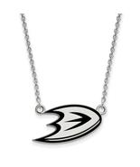 Sterling Silver S. Rh-P Nhl Logoart Anaheim Ducks Sm Enl Pendant With Ne... - $49.49