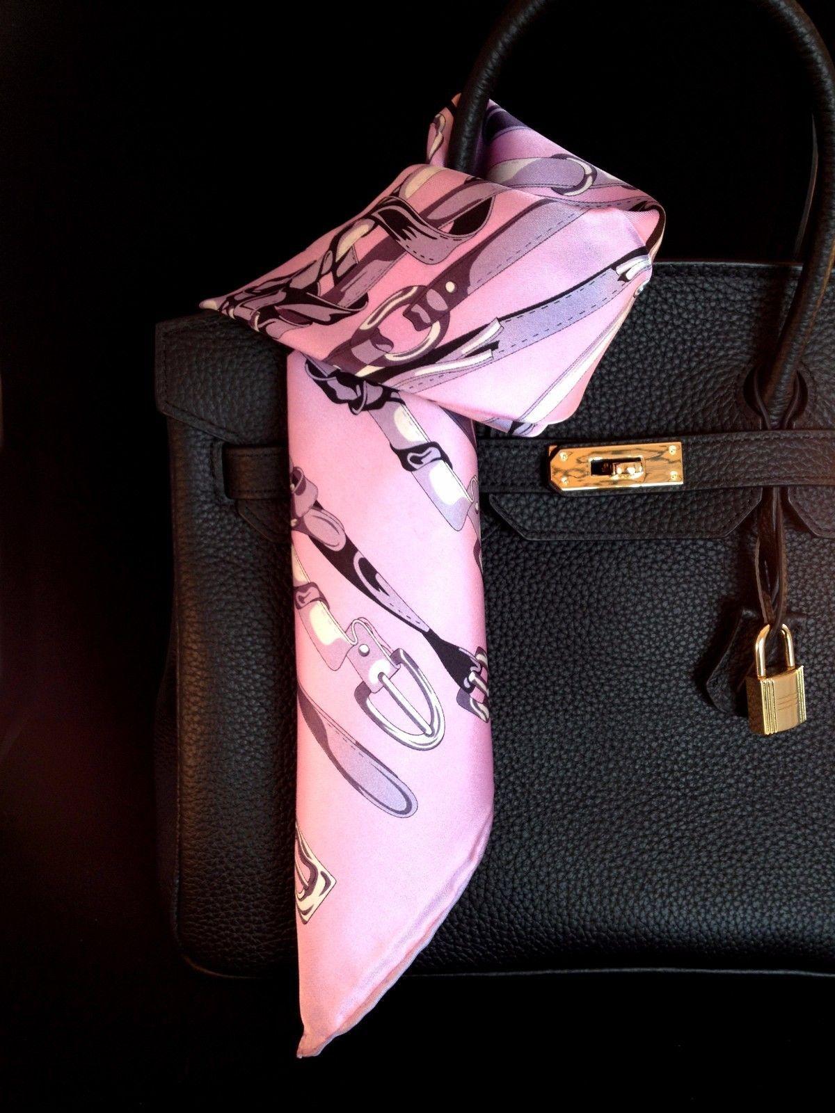 St. Germain 100% Silk Twill Scarf Hand Rolled Hem Pink Equestrian FREE SCARF RIN