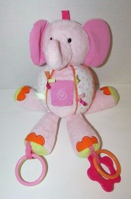 Primary image for Carters Pink Elephant plush round ball rattle teether rings tabs dots hanging