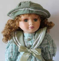 "Porcelain Doll French Country Style Green Plaid Dress 16"" Tall 1960 - $19.79"