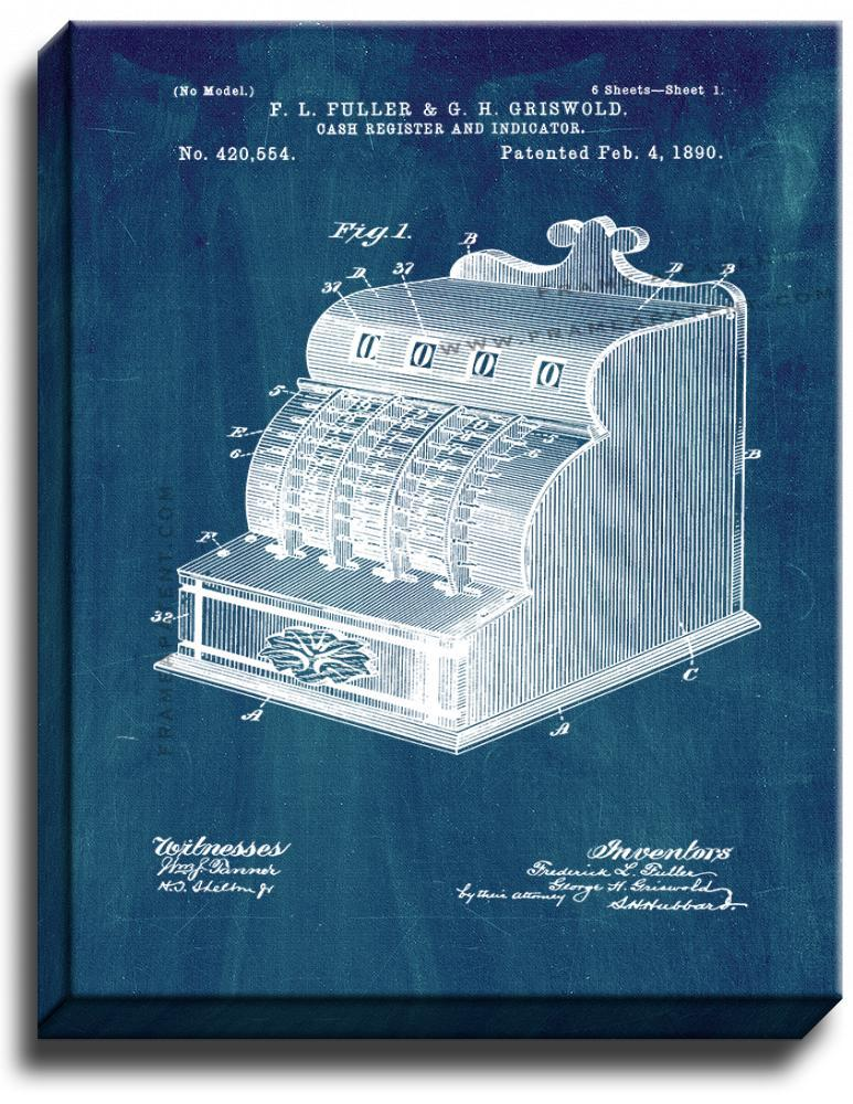 Primary image for Cash Register Patent Print Midnight Blue on Canvas