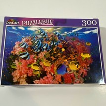 """PUZZLEBUG 18.25"""" X 11"""" Puzzle 300 Pieces COLORFUL FISH SWIMMING IN PINK ... - $12.10"""