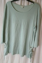 *CATO* Blouse Top*Size L ruched side ties Sea foam green Long Sleeve - $17.81
